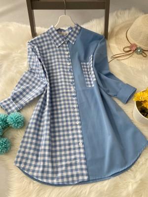 Pitikare Oversize Gömlek - Mavi (papatya baskısıyoktur)