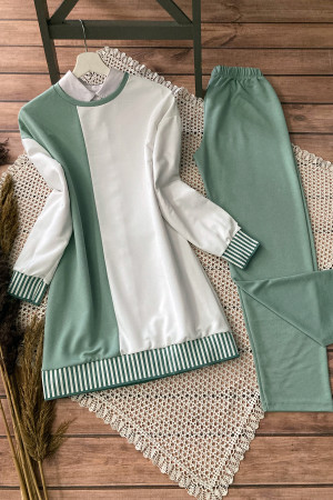 Ribanalı İkiiplik Takım - Mint Yeşili
