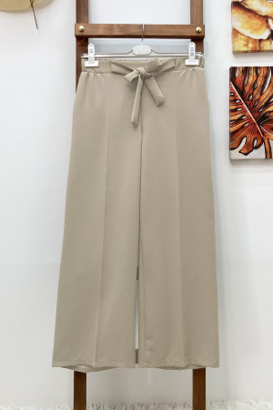 Kuşaklı Bol Paça Pantolon - Taş