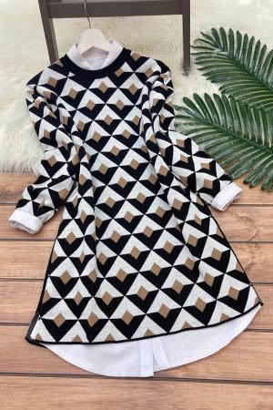 Geometrik Triko Tunik - Bej