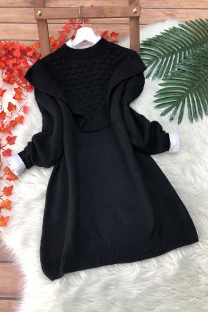 Fırfır Yumoş Kazak Tunik - Siyah