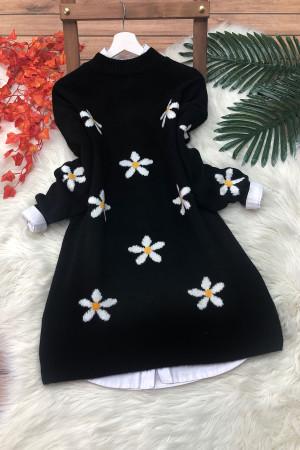 Papatya Yumoş Kazak Tunik - Siyah