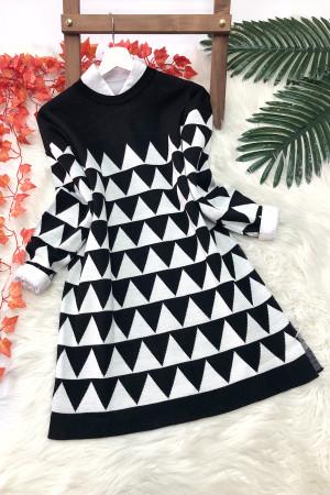 Piramit Desen Triko Tunik - Siyah