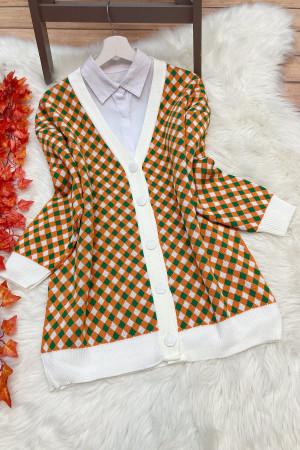 Pitikare Renkli Hırka - Beyaz
