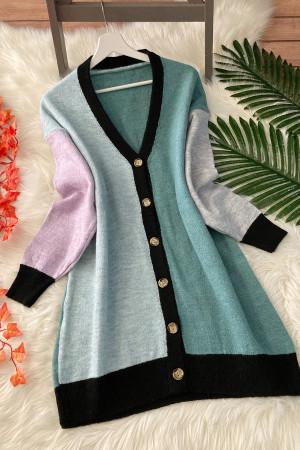 Yumoş Renkli Soft Oversize Hırka - Yeşil