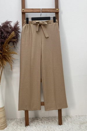 Yünefek Kuşaklı Bol Paça Pantolon - Camel