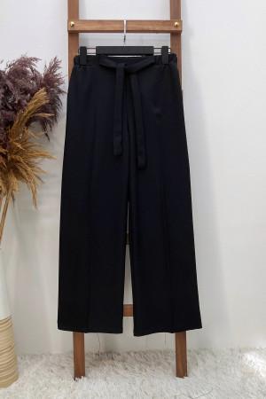 Yünefek Kuşaklı Bol Paça Pantolon - Siyah